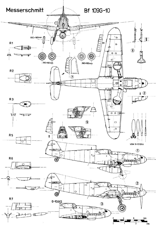 R3 Papercraft Messerschmitt Bf 109 Blueprint Classical Aviation
