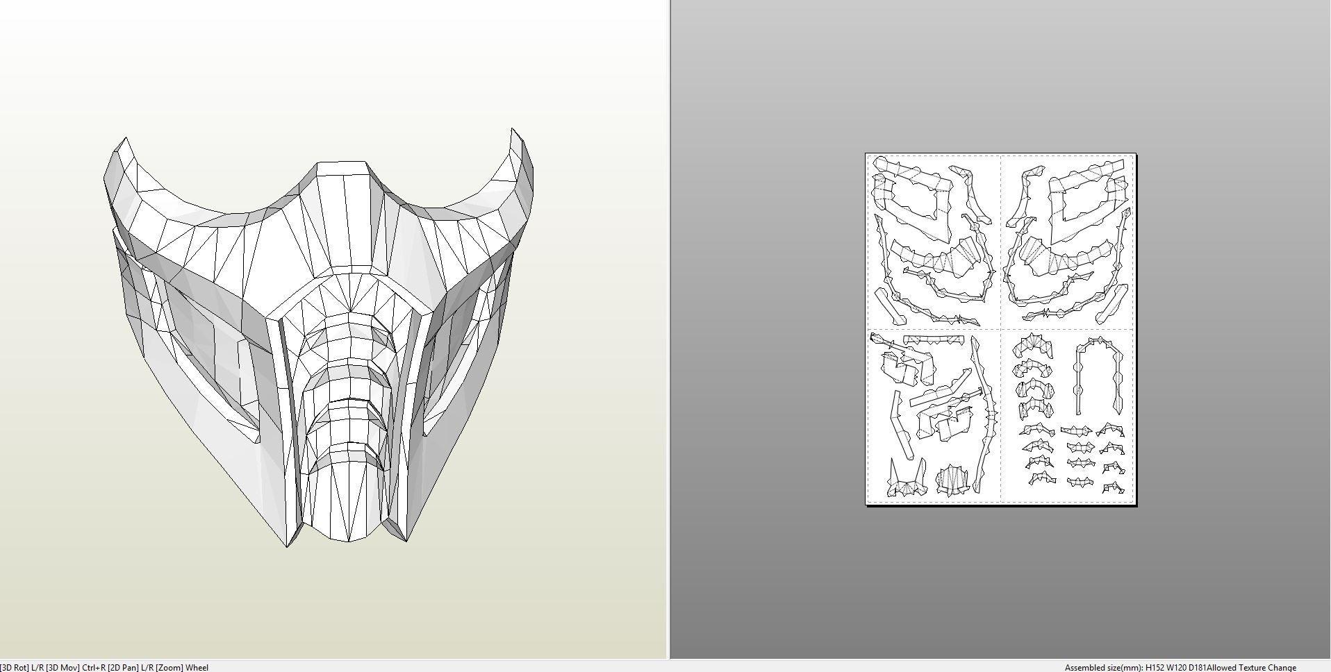 Samurai Papercraft Papercraft Pdo File Template for Mortal Kombat Sub Zero Breather