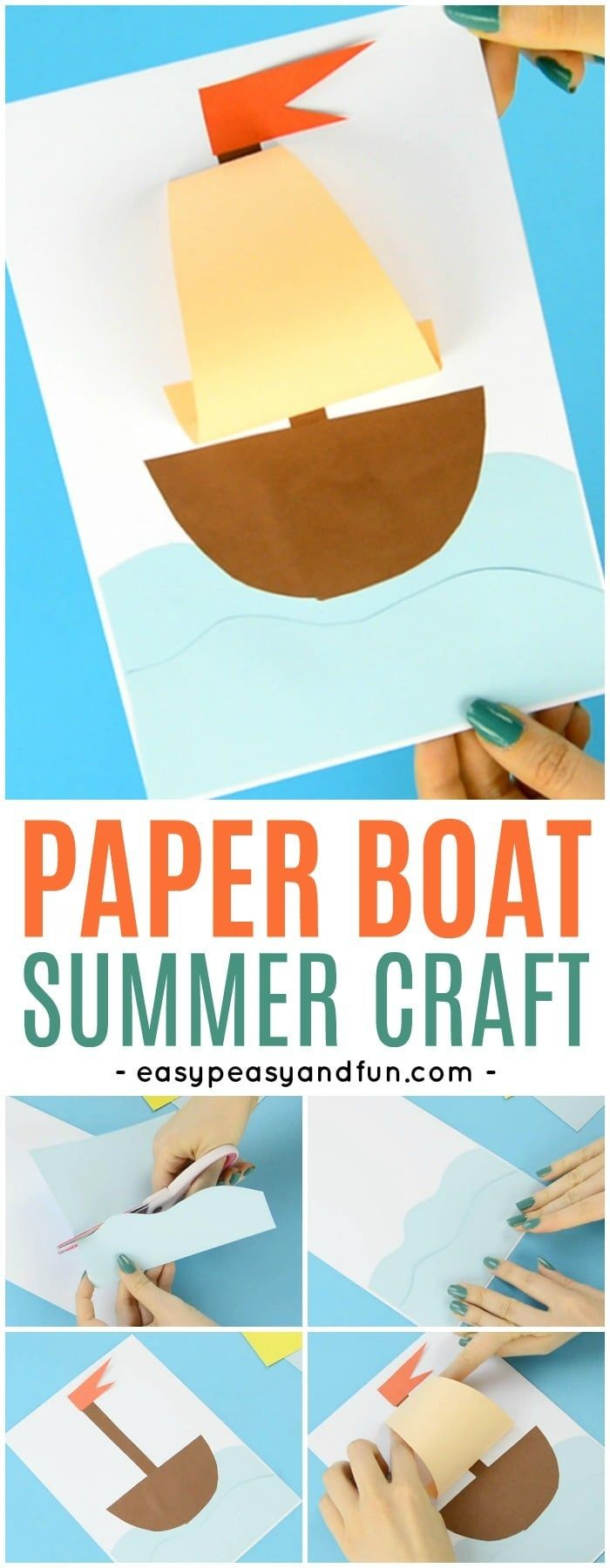 Simple Papercraft Simple Paper Boat Craft Easy Peasy and Fun Pinterest