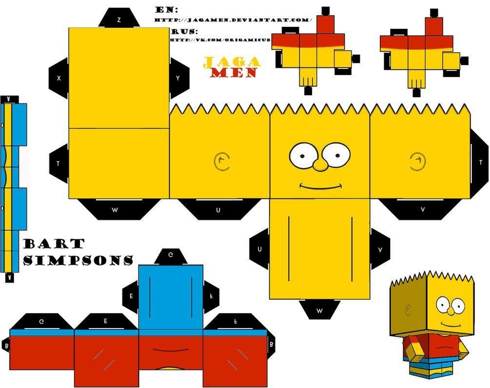 Simpsons Papercraft Bart Simpsons Cubeecrat by Jagamenviantart On Deviantart