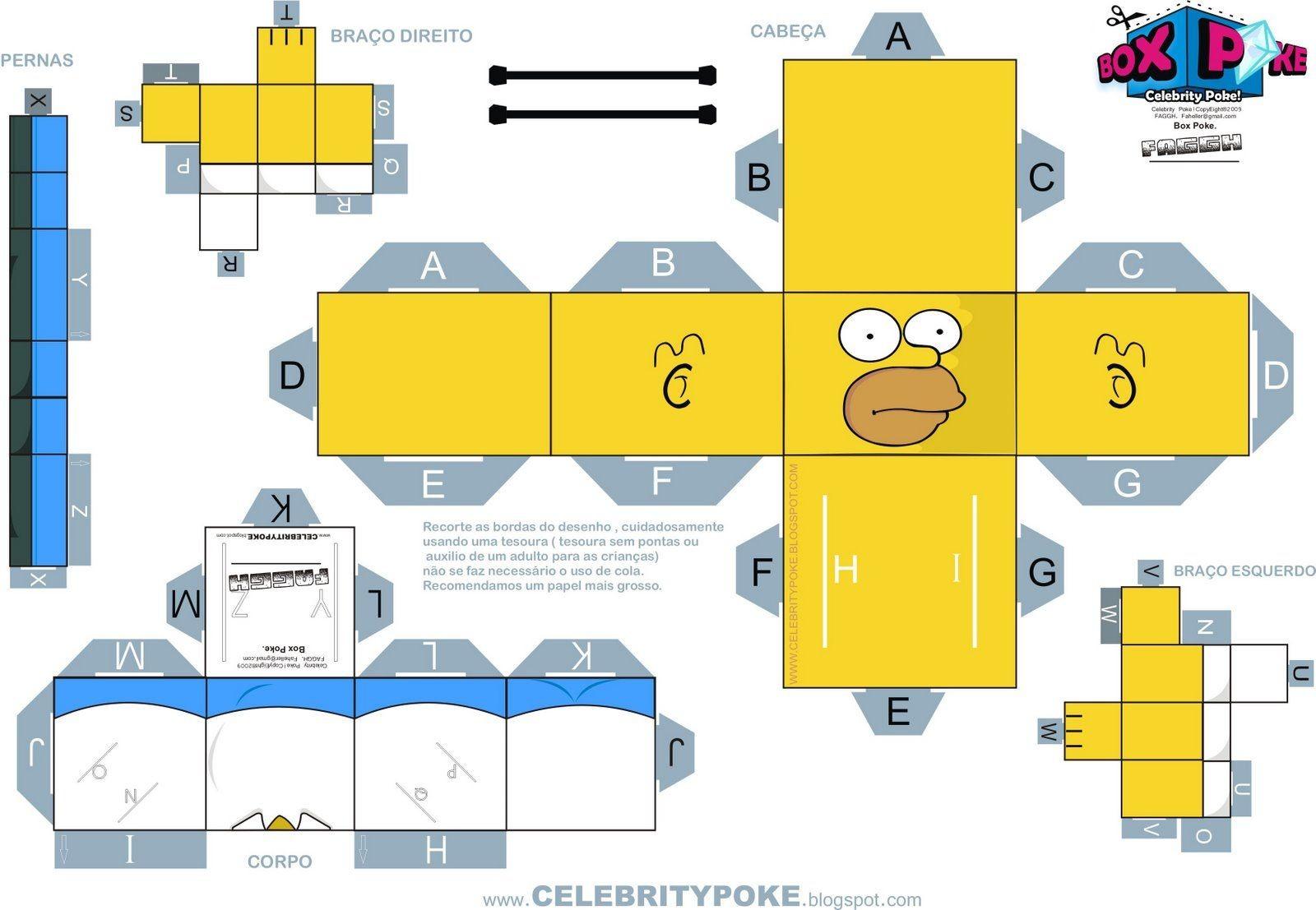 Simpsons Papercraft Montagem Homer 1600—1107 Figurine Pinterest