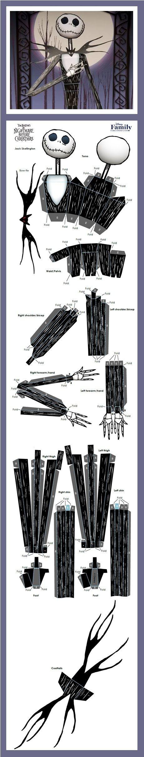 Skeleton Papercraft Jack Skellington 3d Papercraft Jack Pinterest