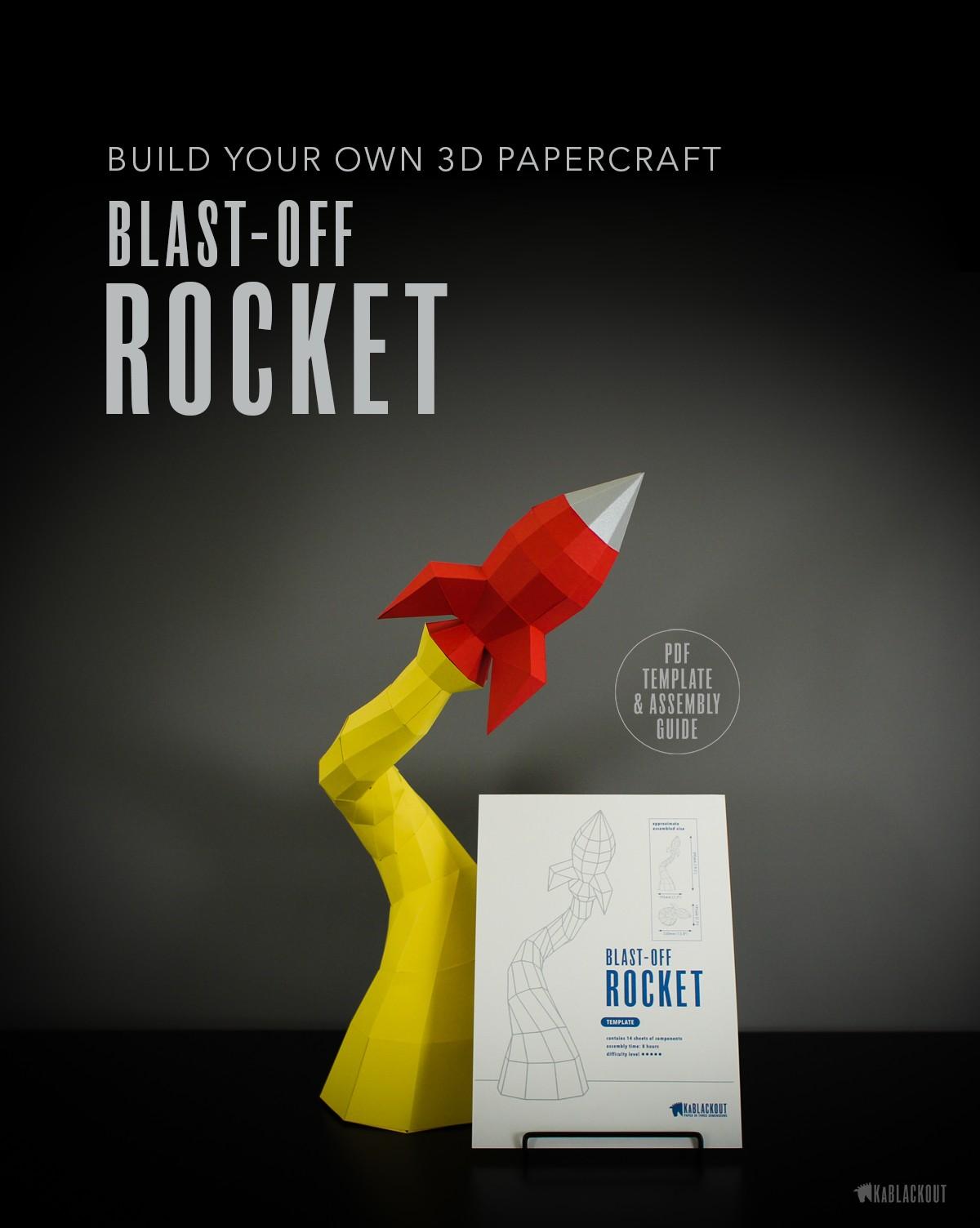 Spaceship Papercraft Low Poly Papercraft Rocket Paper Rocket Desk Decor