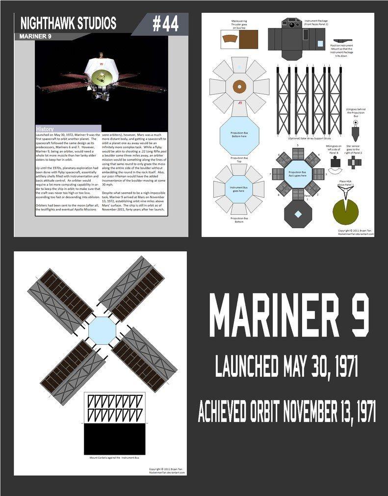 Spaceship Papercraft Mariner 9 Papercraft by Rocketmantanviantart On Deviantart