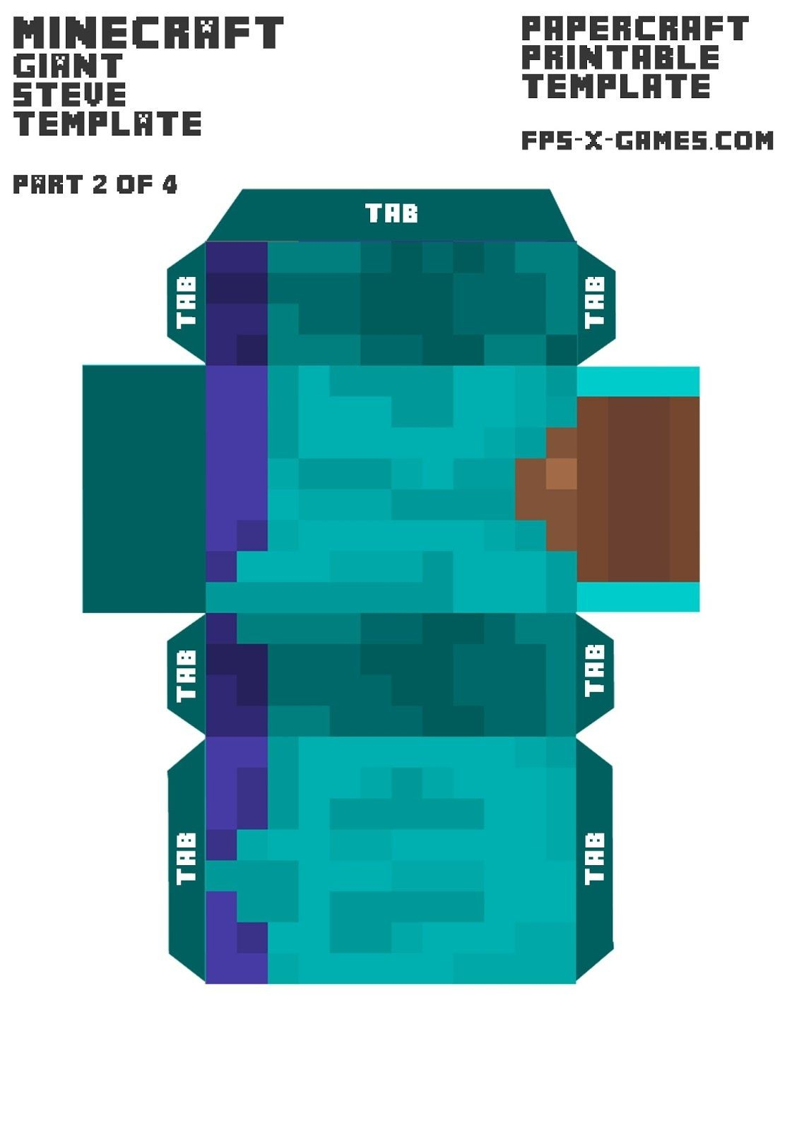 Steve Minecraft Papercraft Minecraft Giant Steve Arms Template 3 4