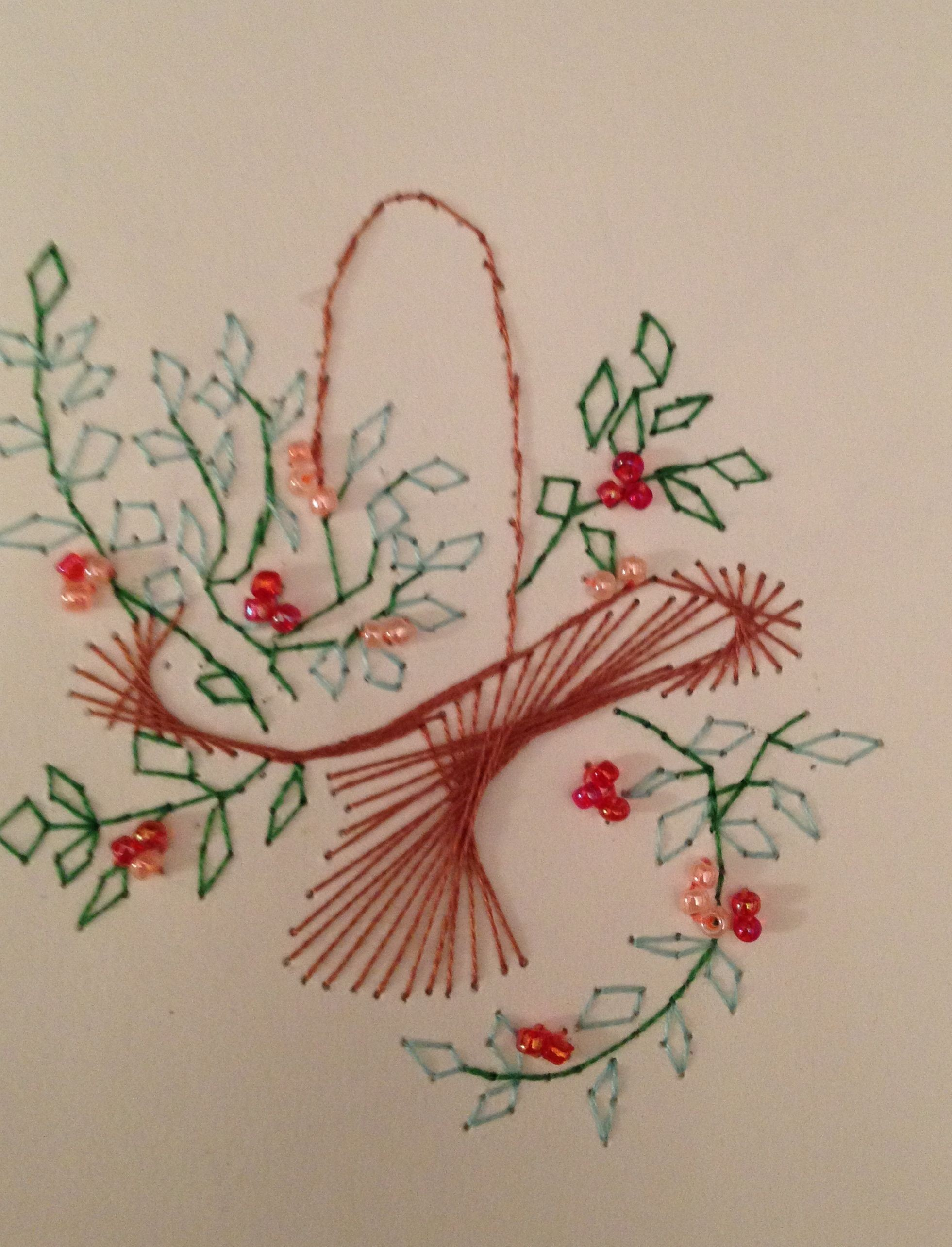 Stitch Papercraft Flower Basket Stitching Card by Pamela Turner