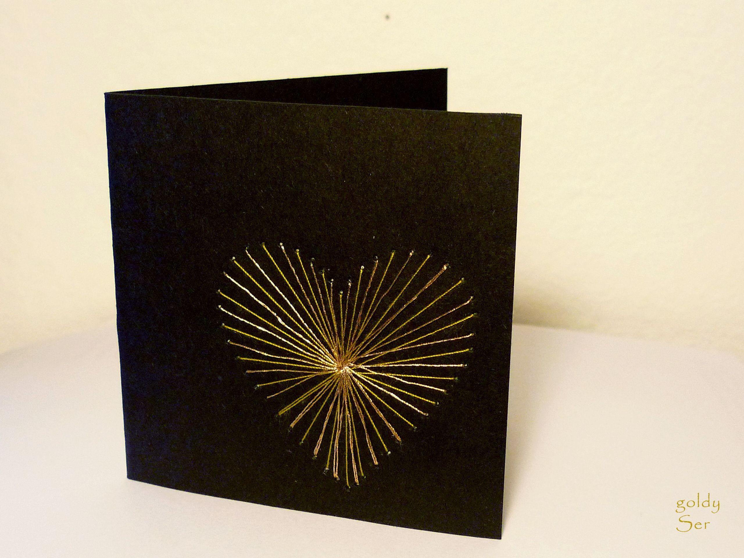 Stitch Papercraft Stitched Card Black Paper Gold Thread Pinbroidery