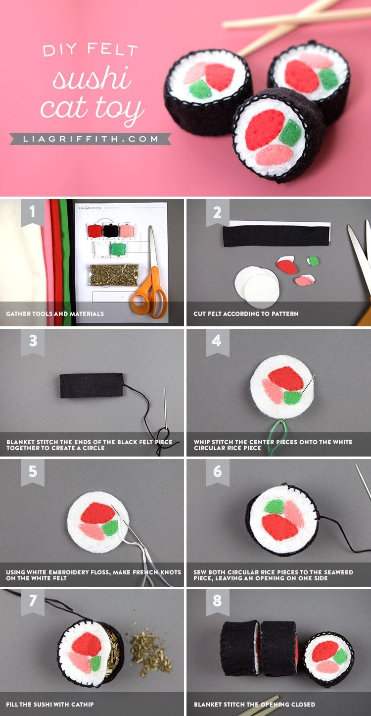 Sushi Papercraft Felt Sushi Template to Make Diy Cat toys