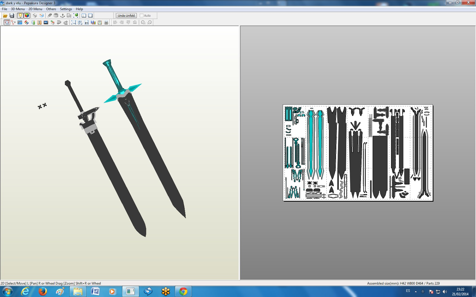 Sword Papercraft Sword Art Online Universe] Dark Repulser Y Elucidator