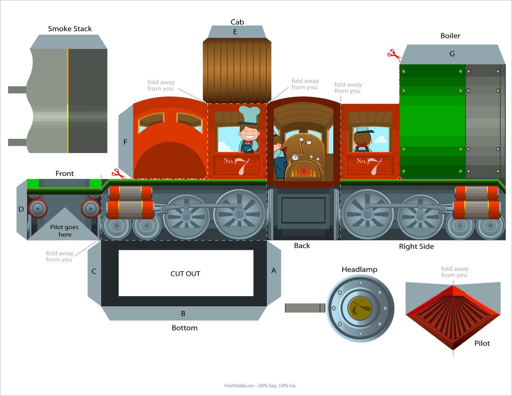Train Papercraft Steam Train Engine Papercraft