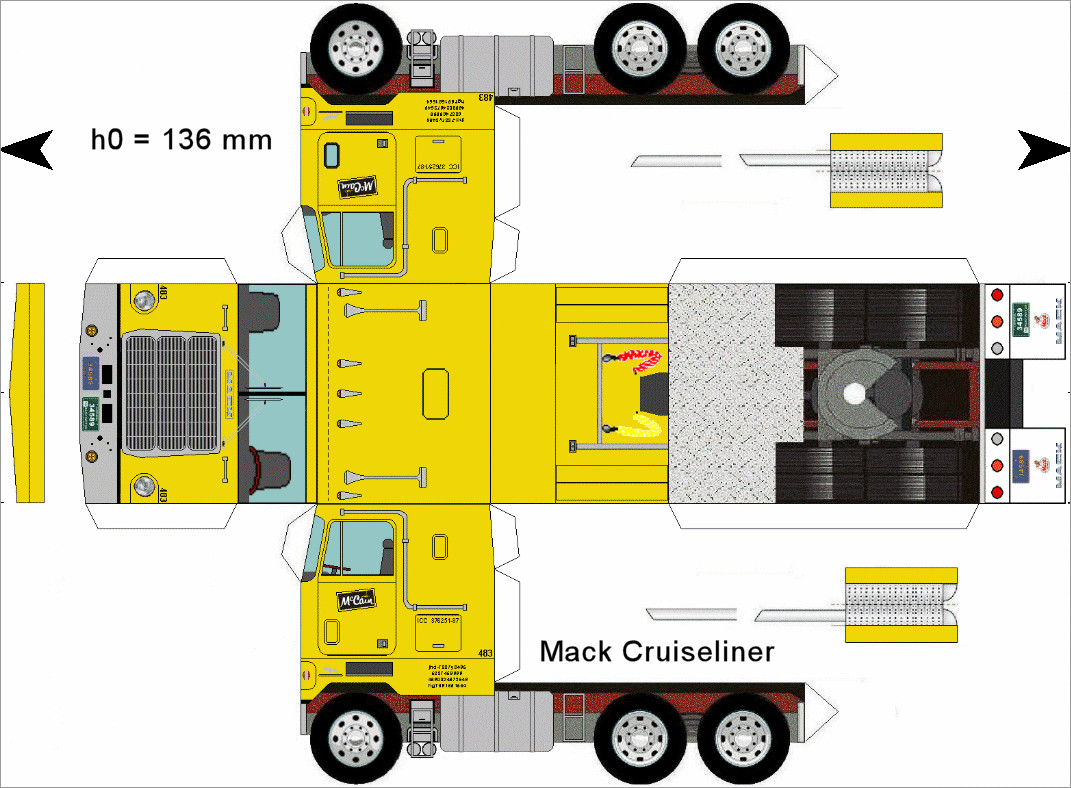 Truck Papercraft Mack Cruiseliner Truck Papercraft