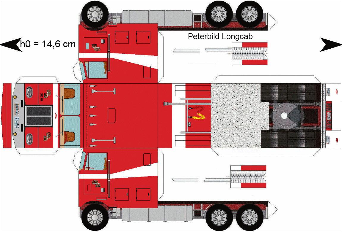 Truck Papercraft Peterbild Longcab Truck Papercraft