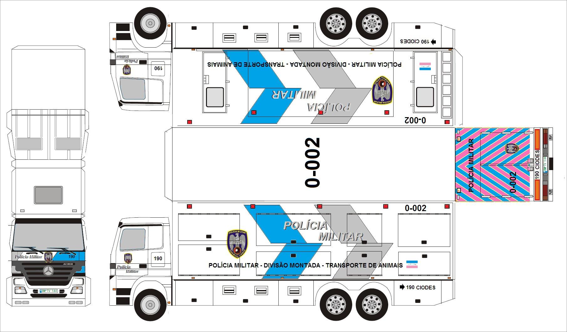 Truck Papercraft Police Truck Papercraft