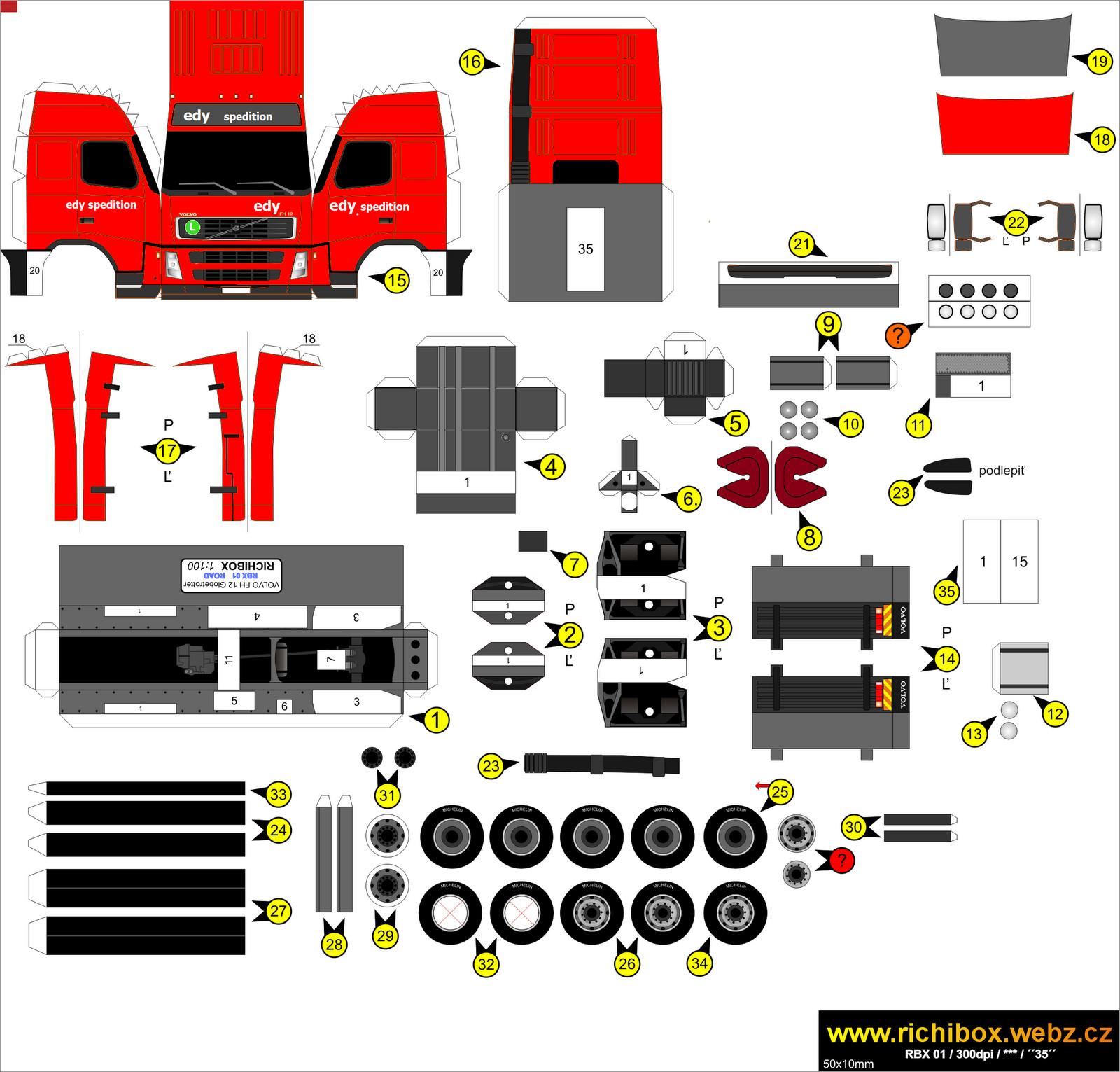 Truck Papercraft Volvo Fh12 Globetrotter Truck Papercraft