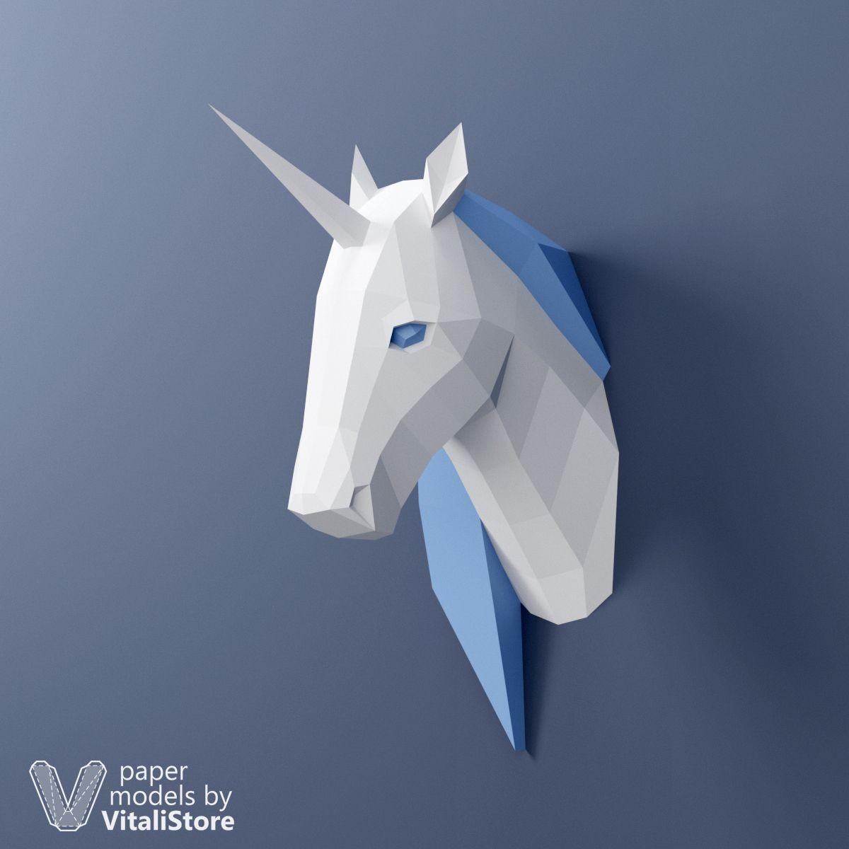 Unicorn Papercraft Unicorn Papercraft 3d Paper Sculpture Wall Decor