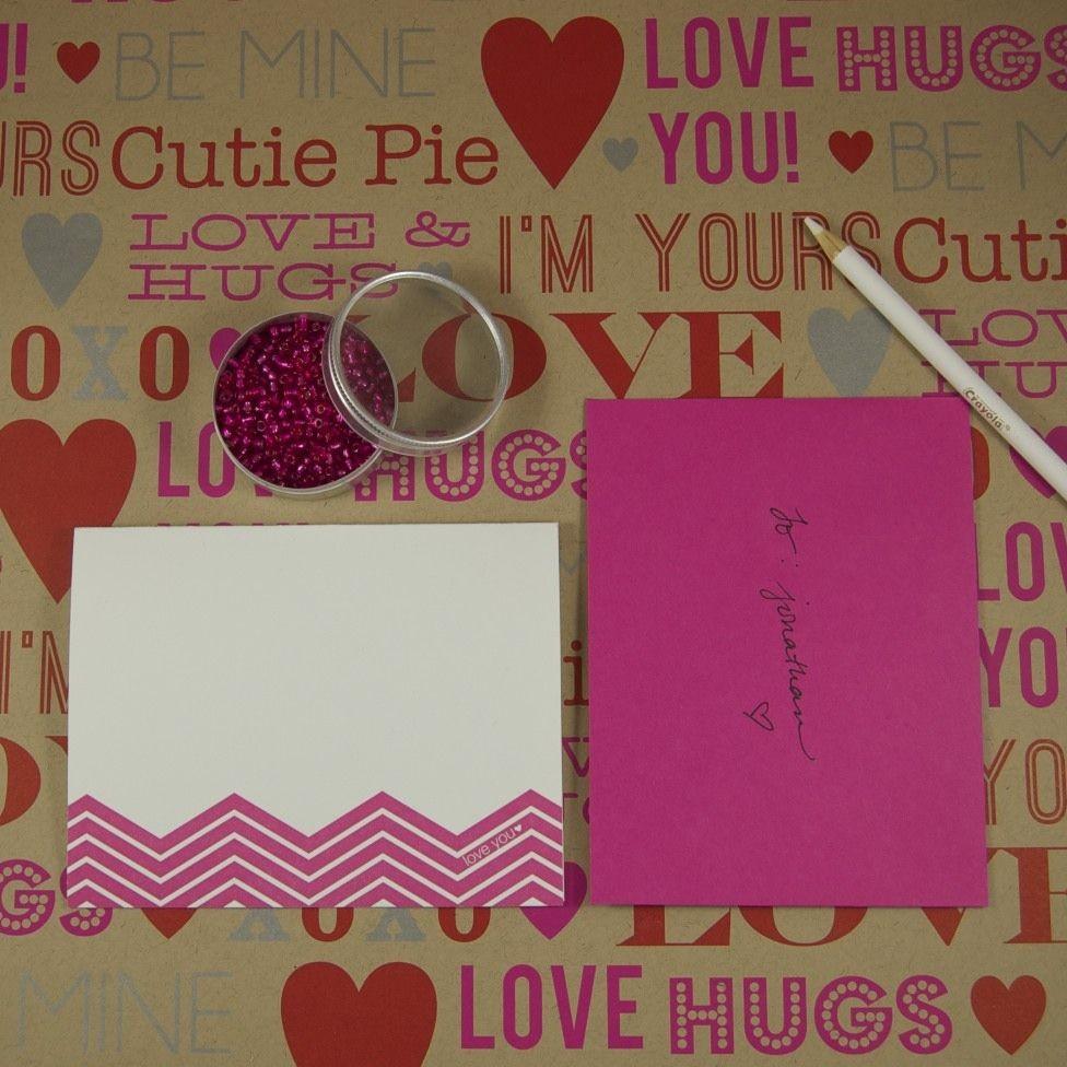 "Valentines Papercraft Chevron Stripe Letterpress ""love You"" Valentine S Card"
