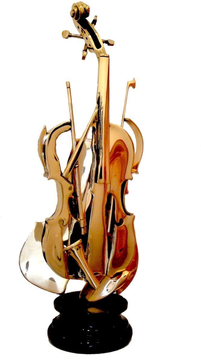 Violin Papercraft Arman Violon Brisé Ii Bronze Doré Music & Art