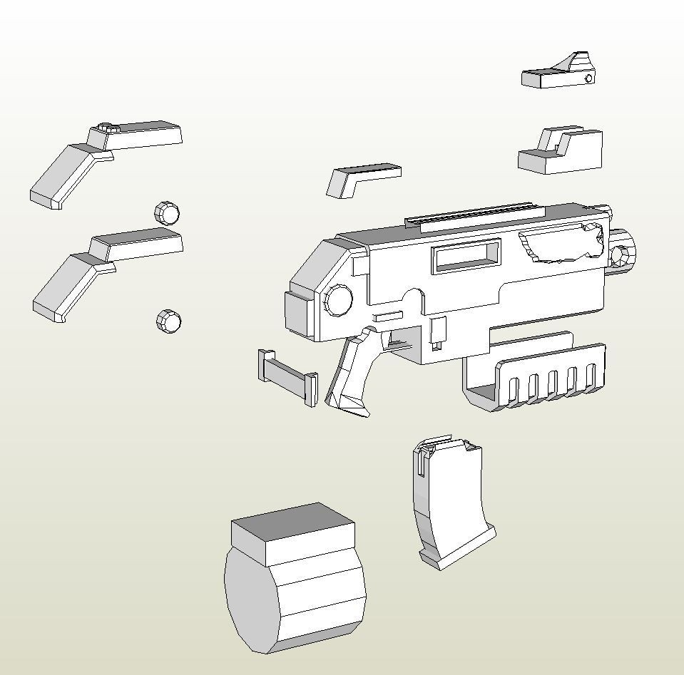 Warhammer 40k Papercraft Papercraft Pdo File Template for Warhammer 40k Heavy Bolter