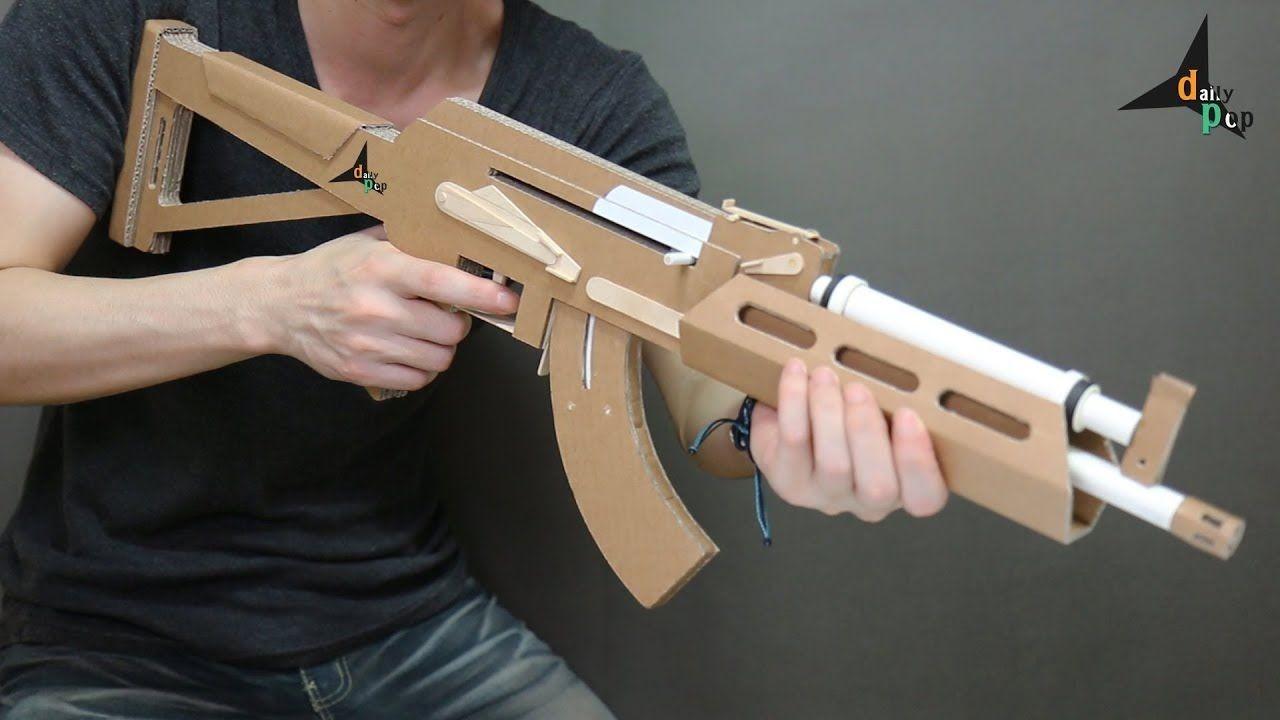 Weapon Papercraft How to Make Ak 47 that Shoots Bullets Cardboard Gun Diy