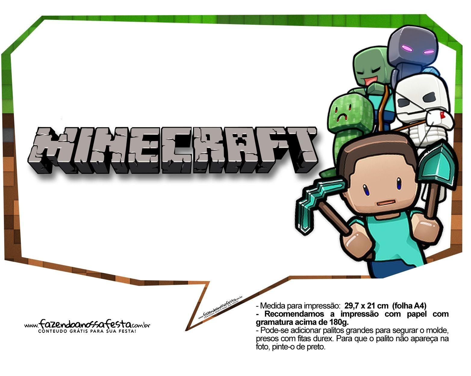 Xbox 360 Papercraft Plaquinhas Festa Minecraft 3 1564—1248 Minecraft