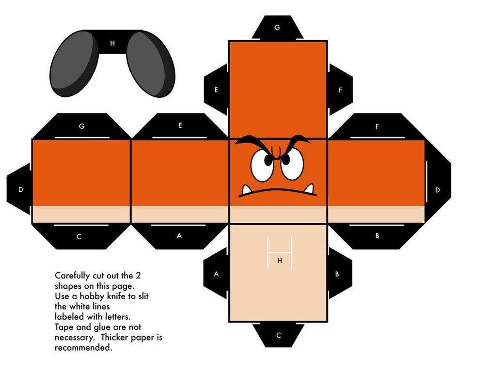 Yoshi Papercraft Goomba Mario Cubeecraft Papercraft by Marcokobashigawa On