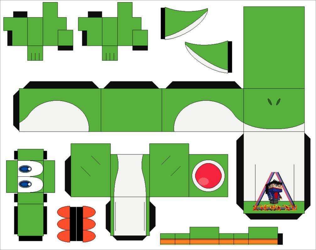 Yoshi Papercraft Green Yoshi Papercraft Template