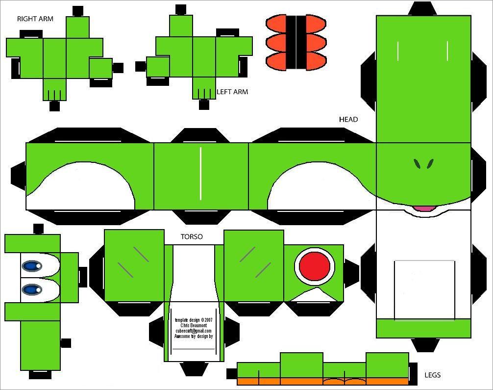 Yoshi Papercraft Yoshi Cubeecraft Papercraft Free Download