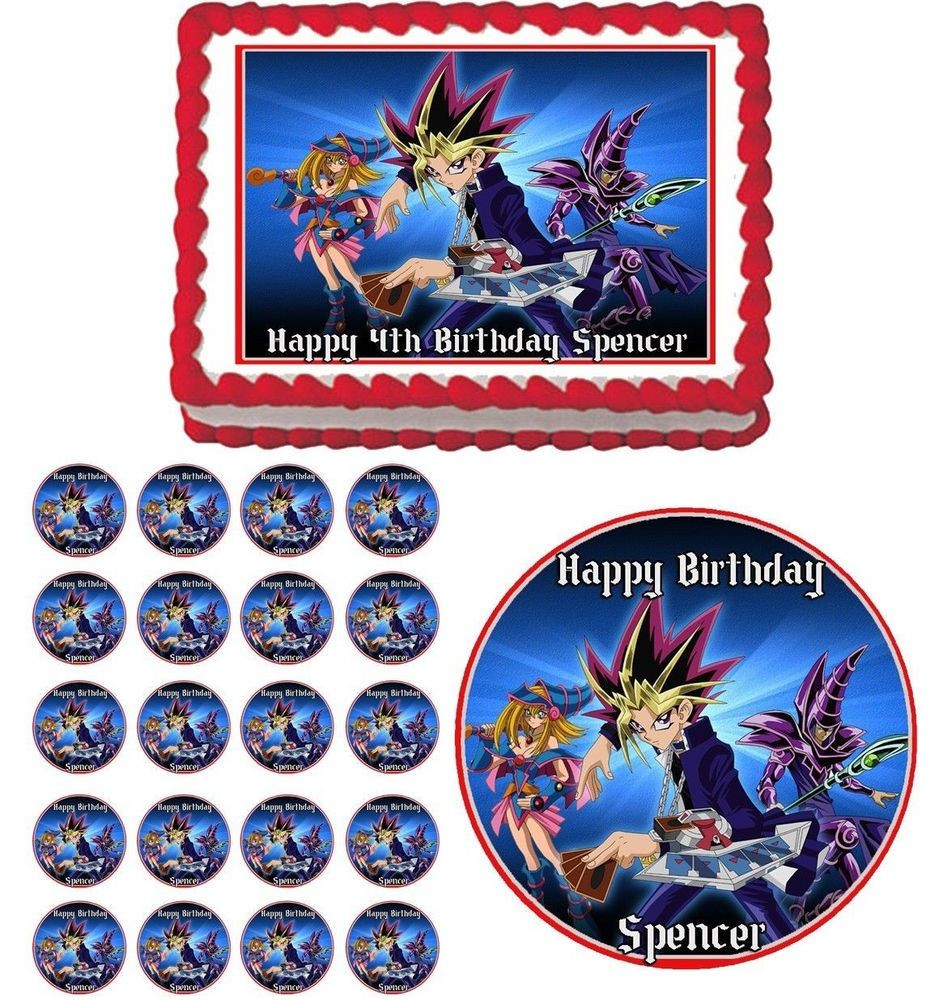 Yugioh Papercraft Yu Gi Oh Edible Cake topper Cupcake Image Decoration Birthday Party