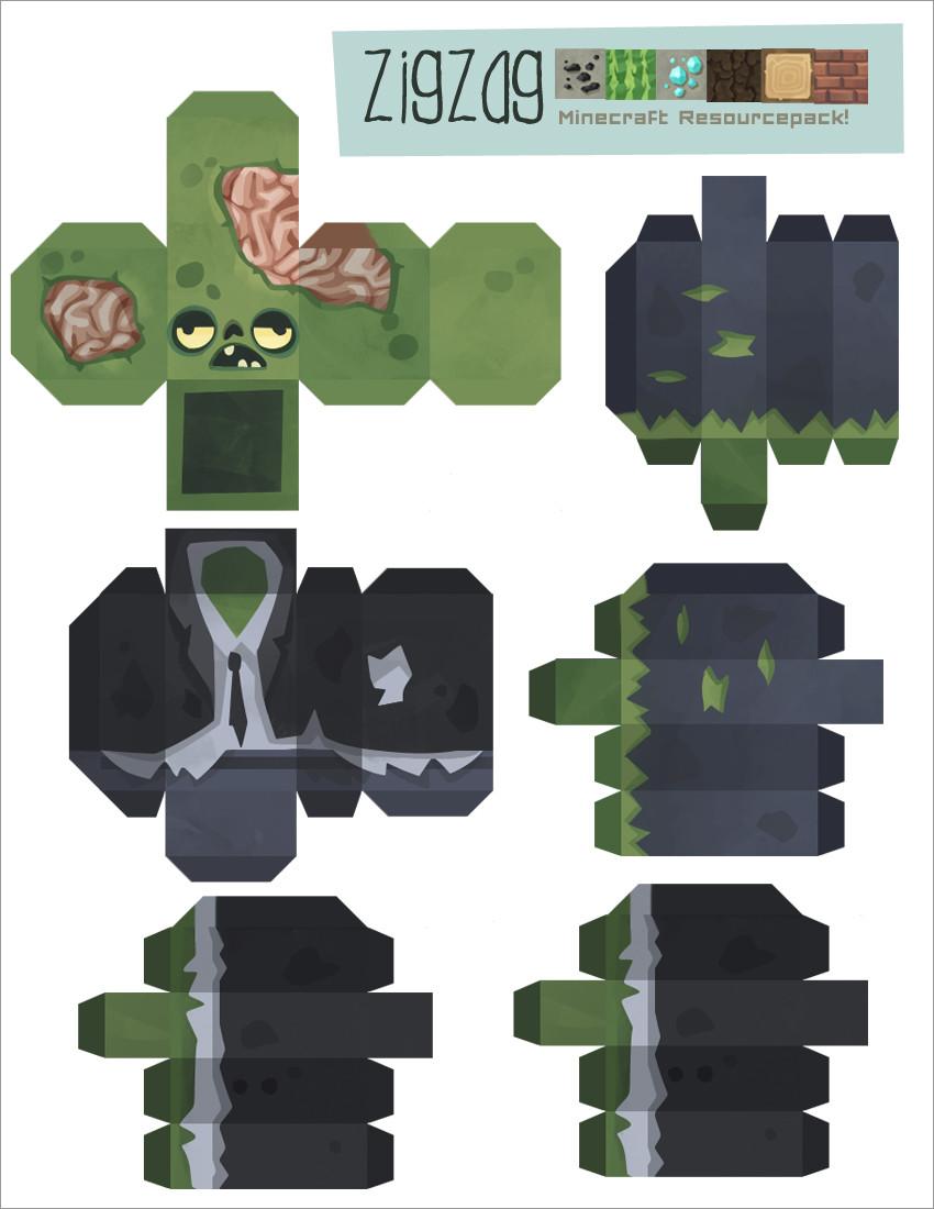 Zombie Papercraft Minecraft Zombie Papercraft