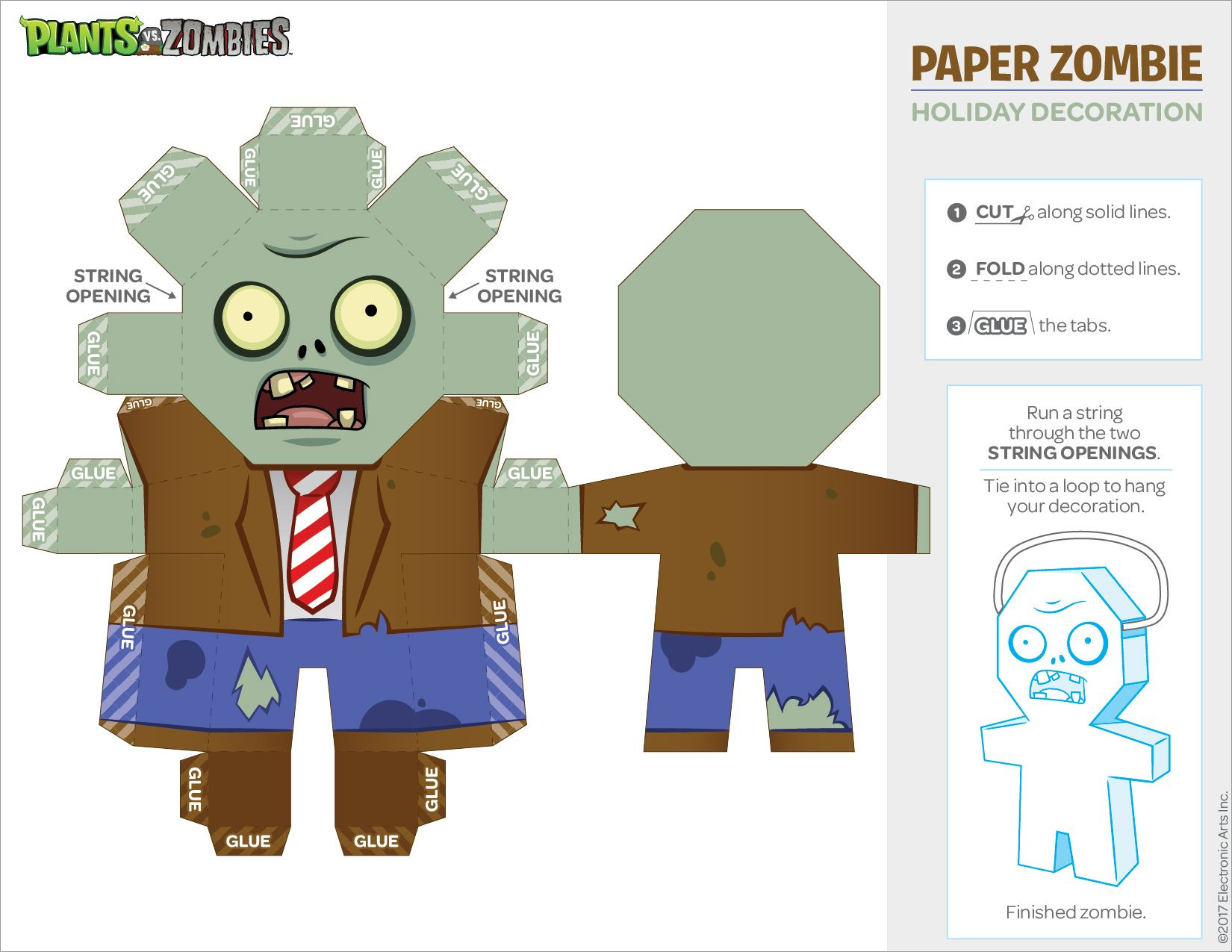 Zombie Papercraft Plants Vs Zombies Papercraft Template Download Free