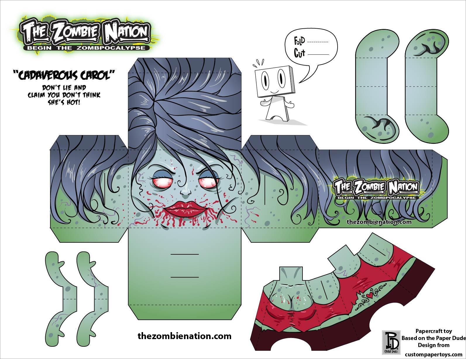Zombie Papercraft Zombie Girlfriend Papercraft
