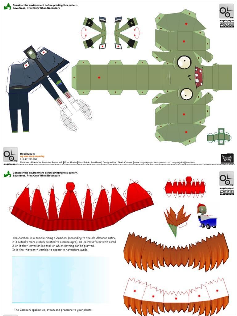 Zombie Papercraft Zomboni Plants Vs Zombies Papercraft